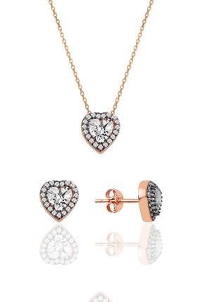 Söğütlü Silver Gümüş Elmas Montürlü Kalp Modeli Ikili Set