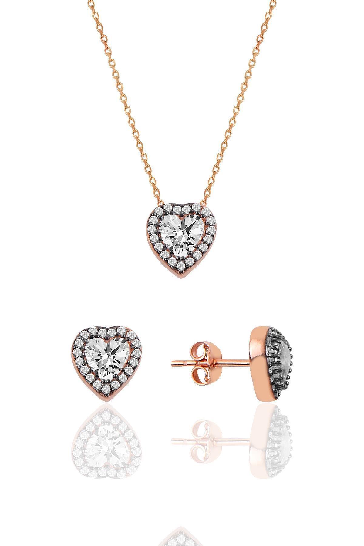 Söğütlü Silver Gümüş Elmas Montürlü Kalp Modeli Ikili Set 1