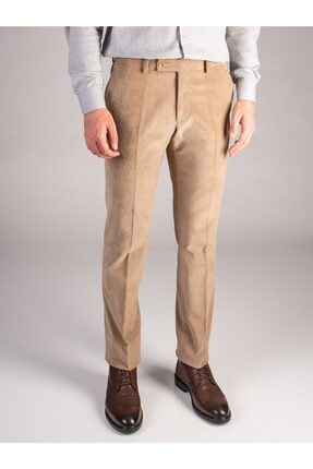 Dufy Bej Düz Erkek Pantolon - Regular Fıt