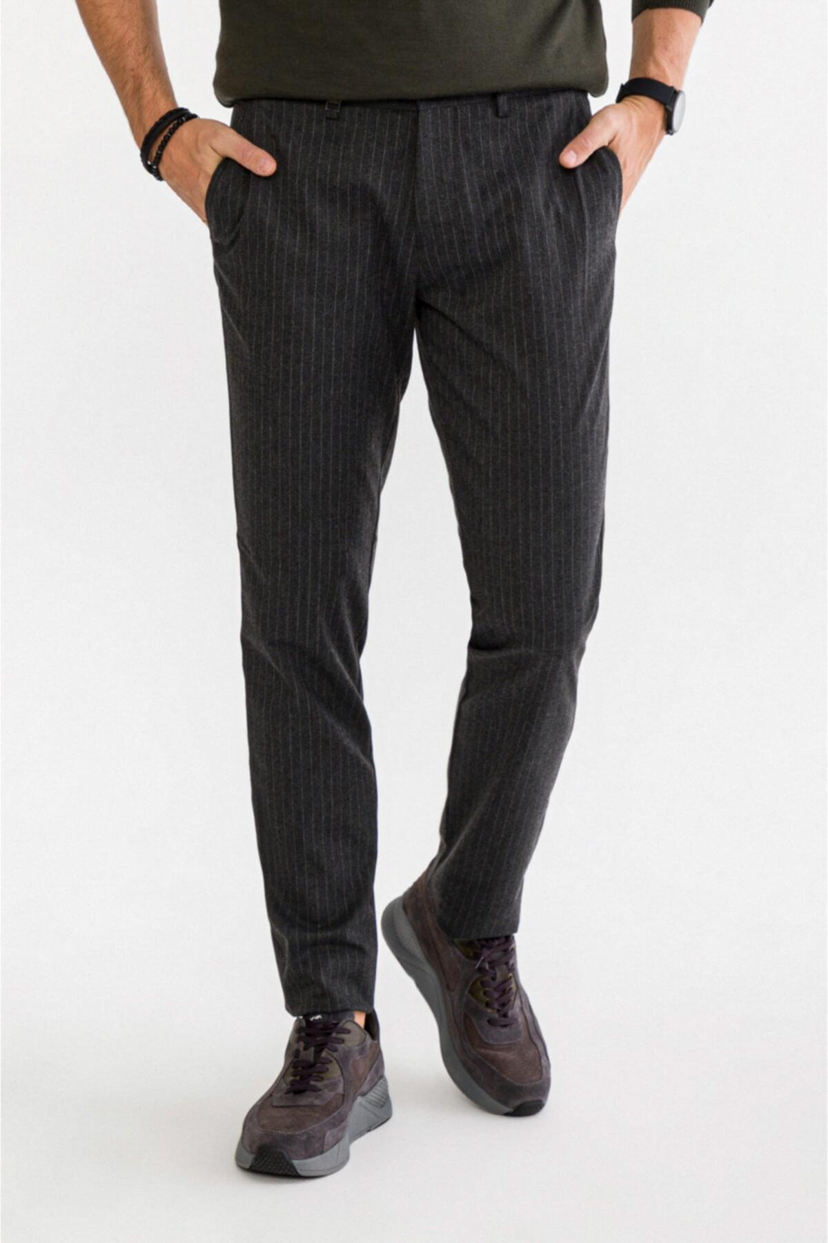 Avva Erkek Antrasit Yandan Cepli Çizgili Slim Fit Kumaş Pantolon A92y3012 1