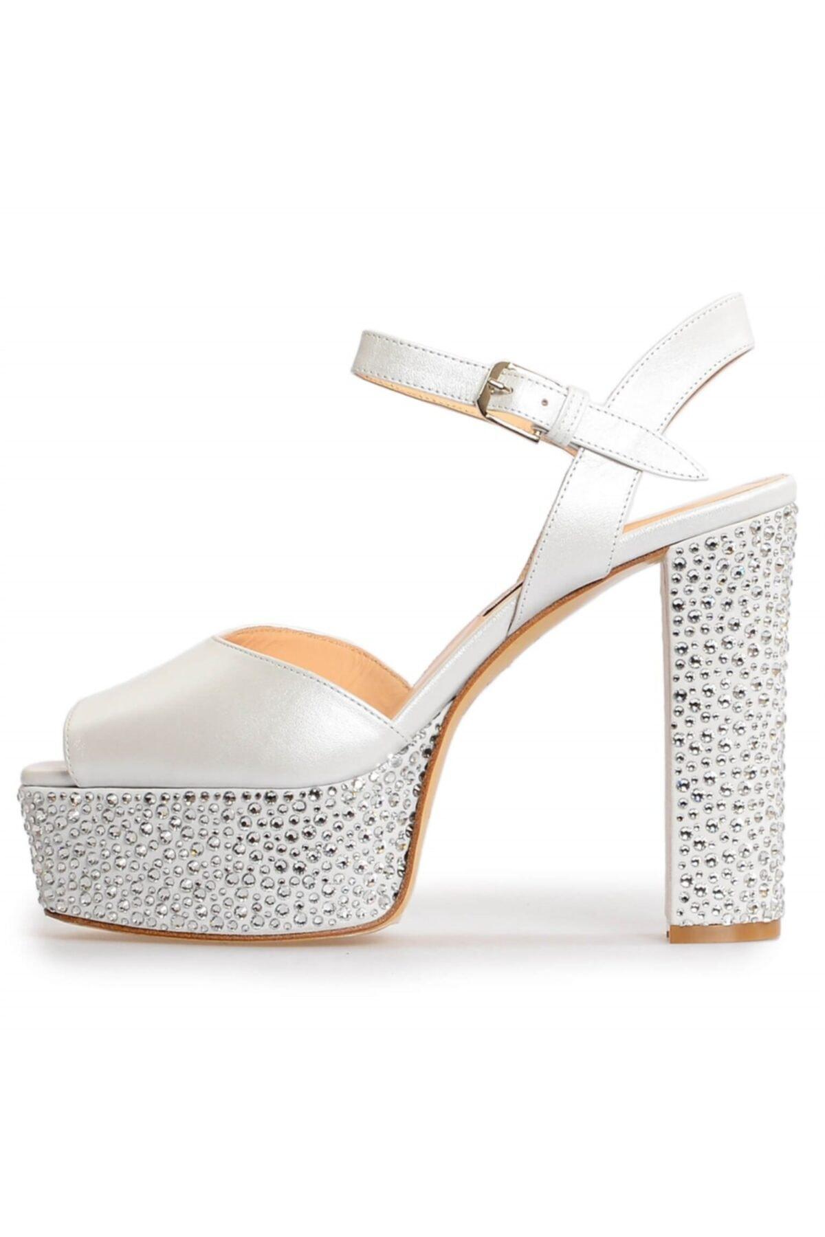 Flower Kadın Beyaz Deri Platformlu Taşlı Abiye Ayakkabı 2