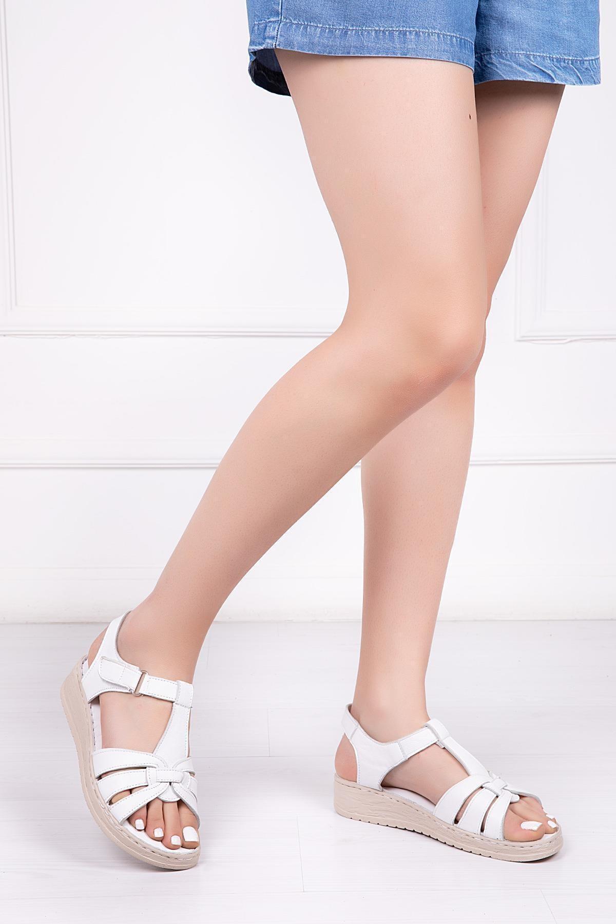 Deripabuc Hakiki Deri Beyaz Kadın Deri Sandalet Dp41-6010 1