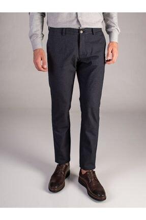 Dufy Lacivert Pötikare Erkek Pantolon - Slım Fıt