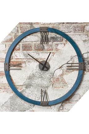 bluecape Doğal Masif Izlanda Mavi Ağaç Antik Metal Roma Rakamlı Duvar Saati 70cm