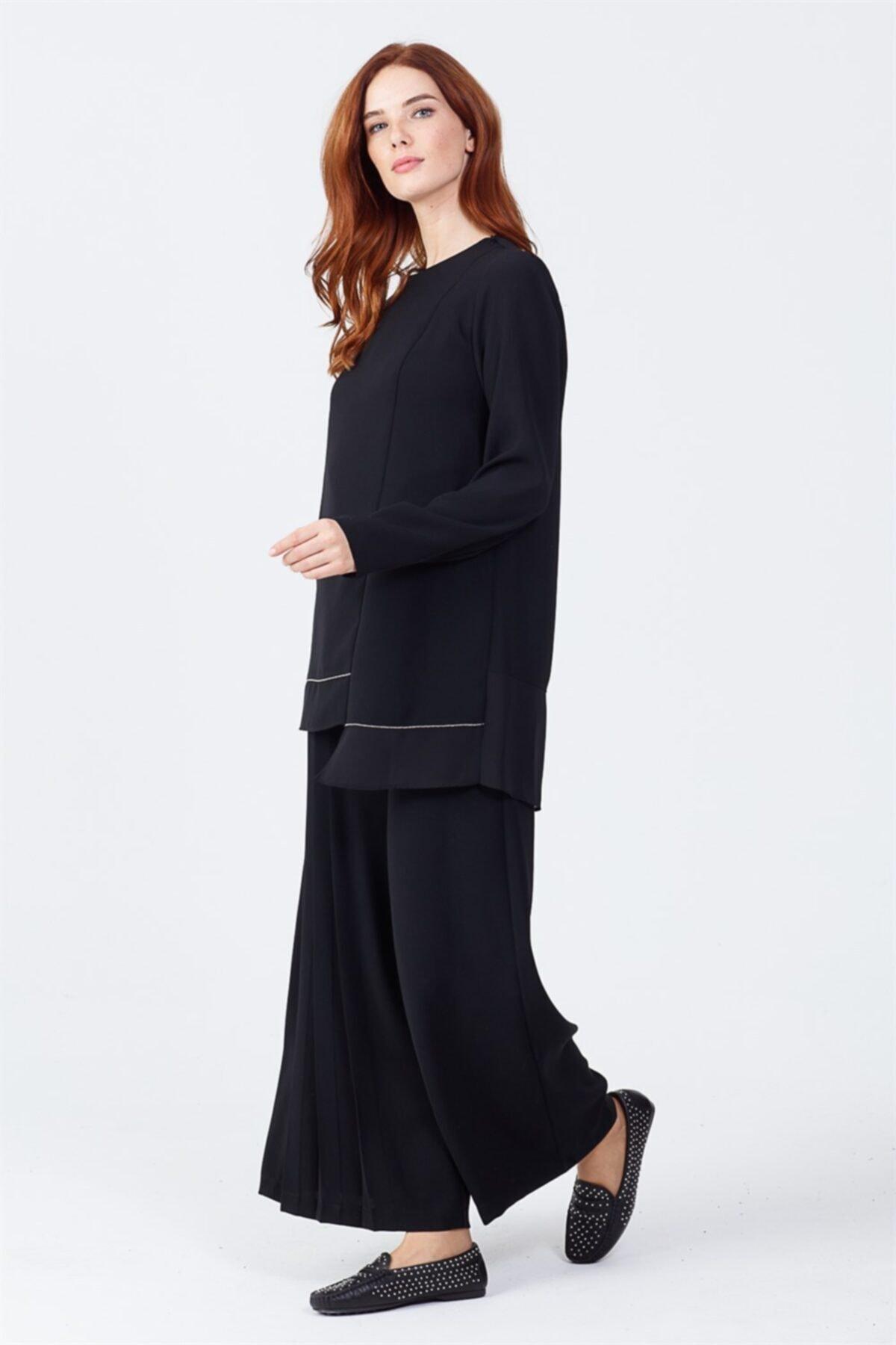 Ghisa Pileli Pantolon Siyah 2