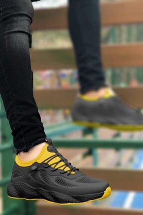 BIG KING Siyah Sarı Grid Desen Fileli Erkek Spor Ayakkabı