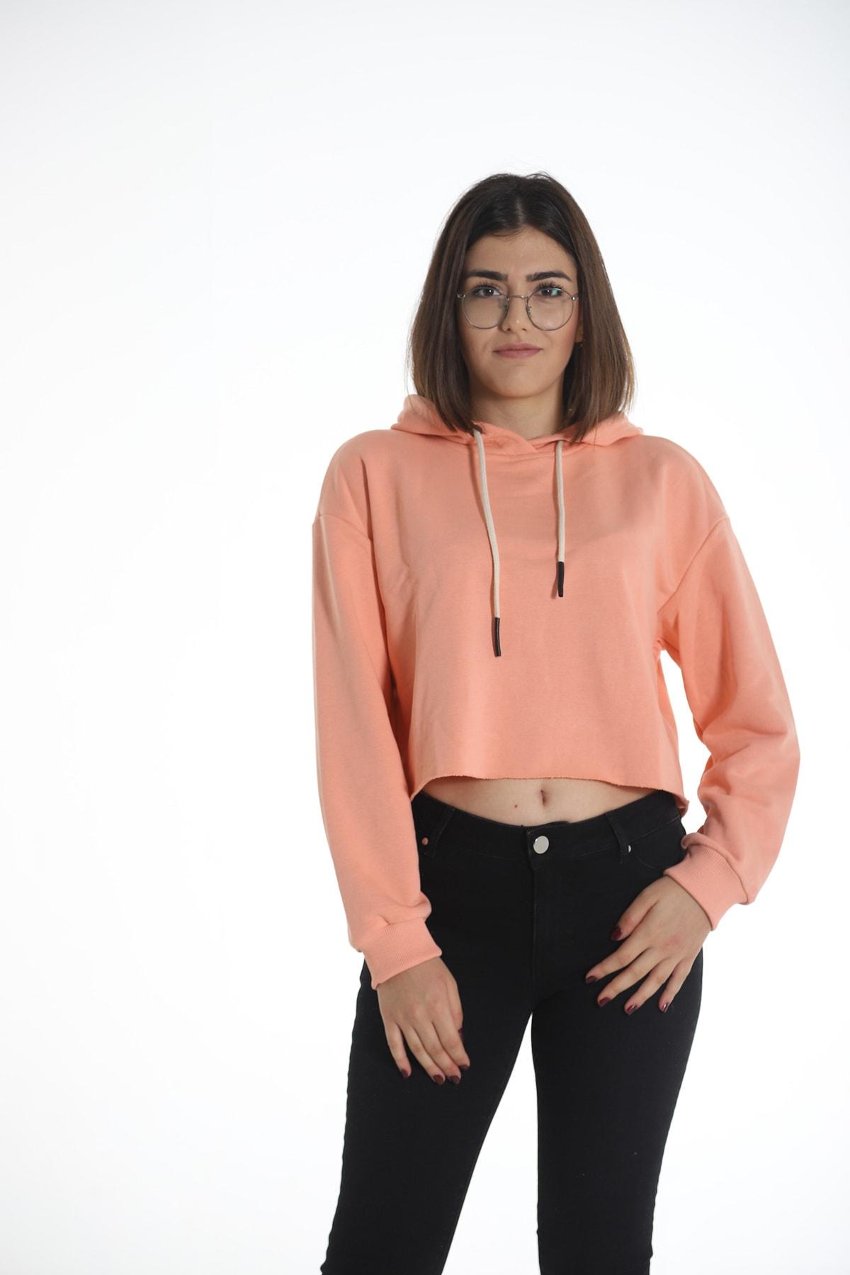Yelken Turuncu Kapüşonlu Crop Kadın Sweatshirt/hoddie Ylkn0031 1
