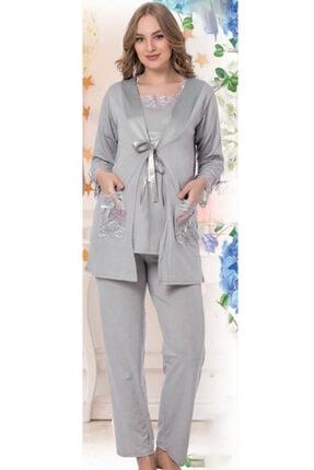 HAYAL Sabahlıklı Lohusa Pijama Takımı Jenika 35751 3lü Sabahlıklı Hamile Pijaması
