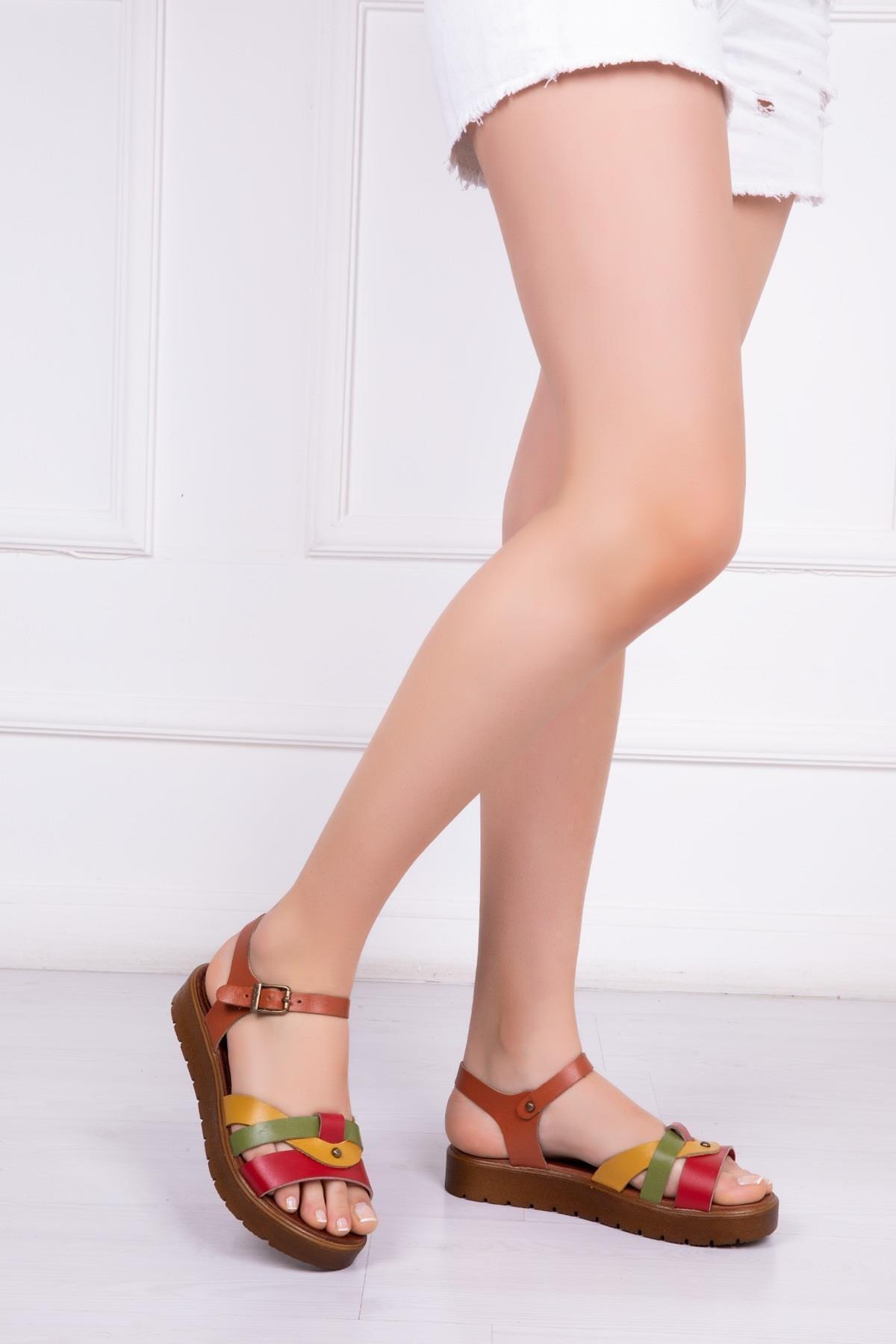 Deripabuc Hakiki Deri Multi-1 Kadın Deri Sandalet Dp-1014 1