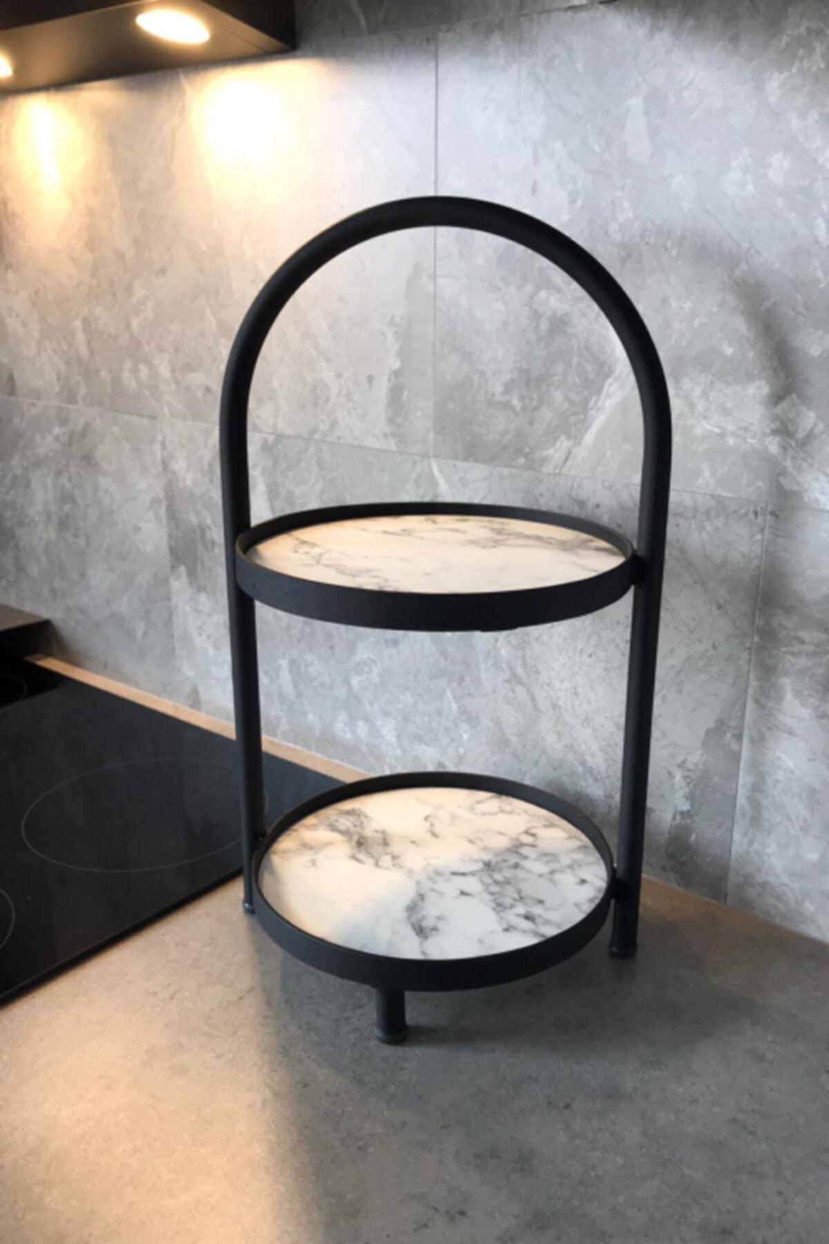LİLLA HOME Iki Katlı Beyaz Mermer Desenli Mutfak Kozmetik Takı Banyo Düzenleyici 41 Cm 2