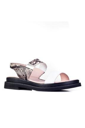 Cabani Günlük Kadın Sandalet Beyaz-siyah Deri