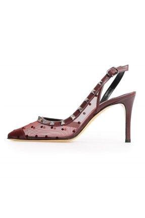 Flower Bordo Deri File Detaylı Troklu Kadın Ayakkabı
