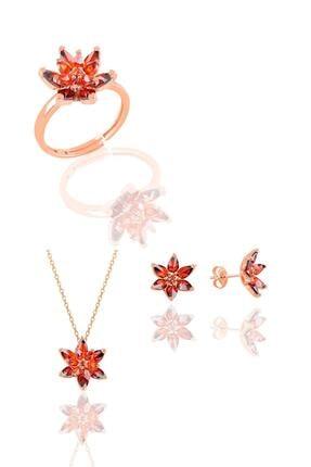 Söğütlü Silver Gümüş Rose Taşlı Nilüfer Lotus Çiçeği Üçlü Set