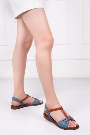 Deripabuc Hakiki Deri Kot Mavi Kadın Deri Sandalet Dp-0087