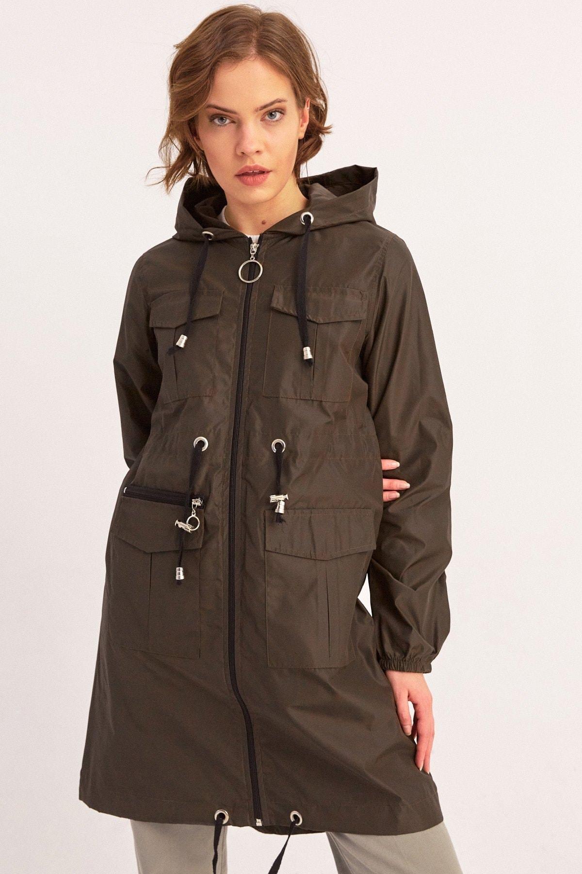 Fulla Moda Arkası Baskılı Kapüşonlu Yağmurluk 2