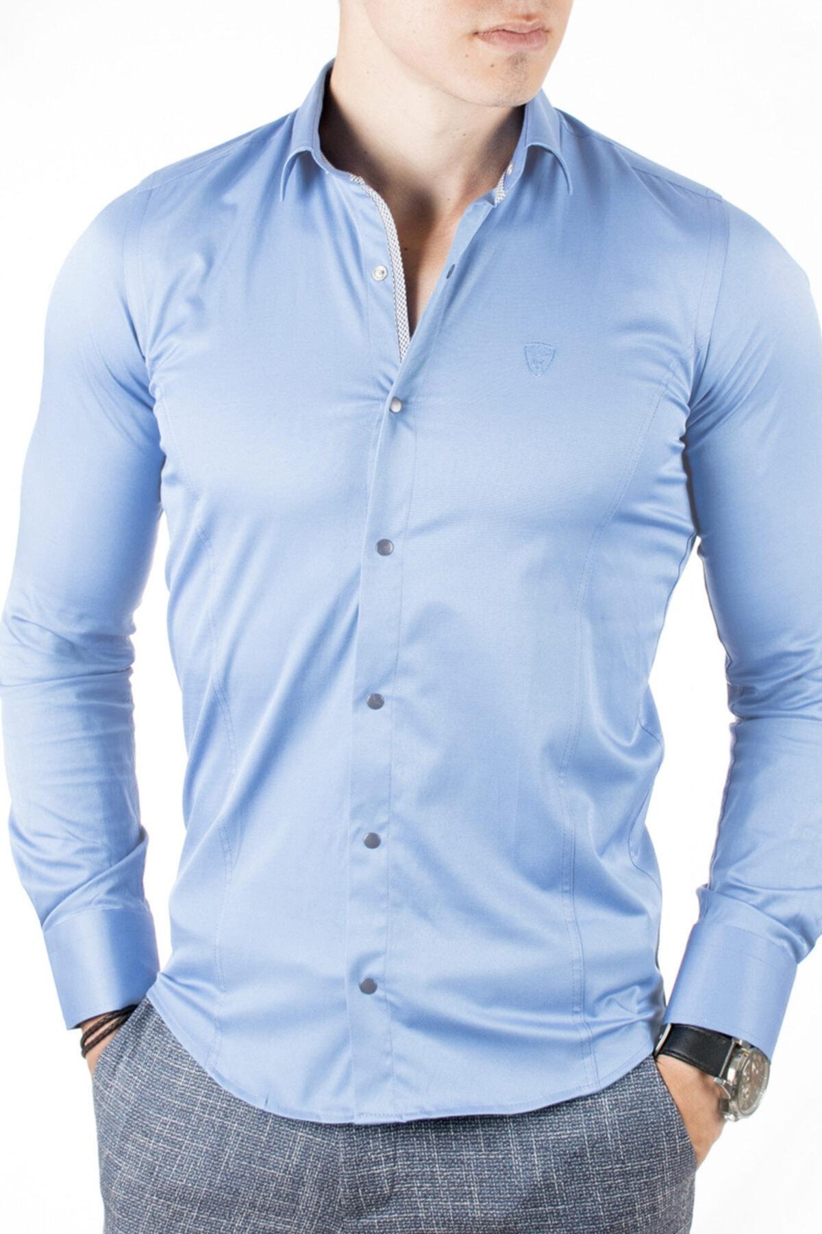 DeepSEA Erkek Mavi Çıtçıt Düğmeli Klasik Gömlek 2