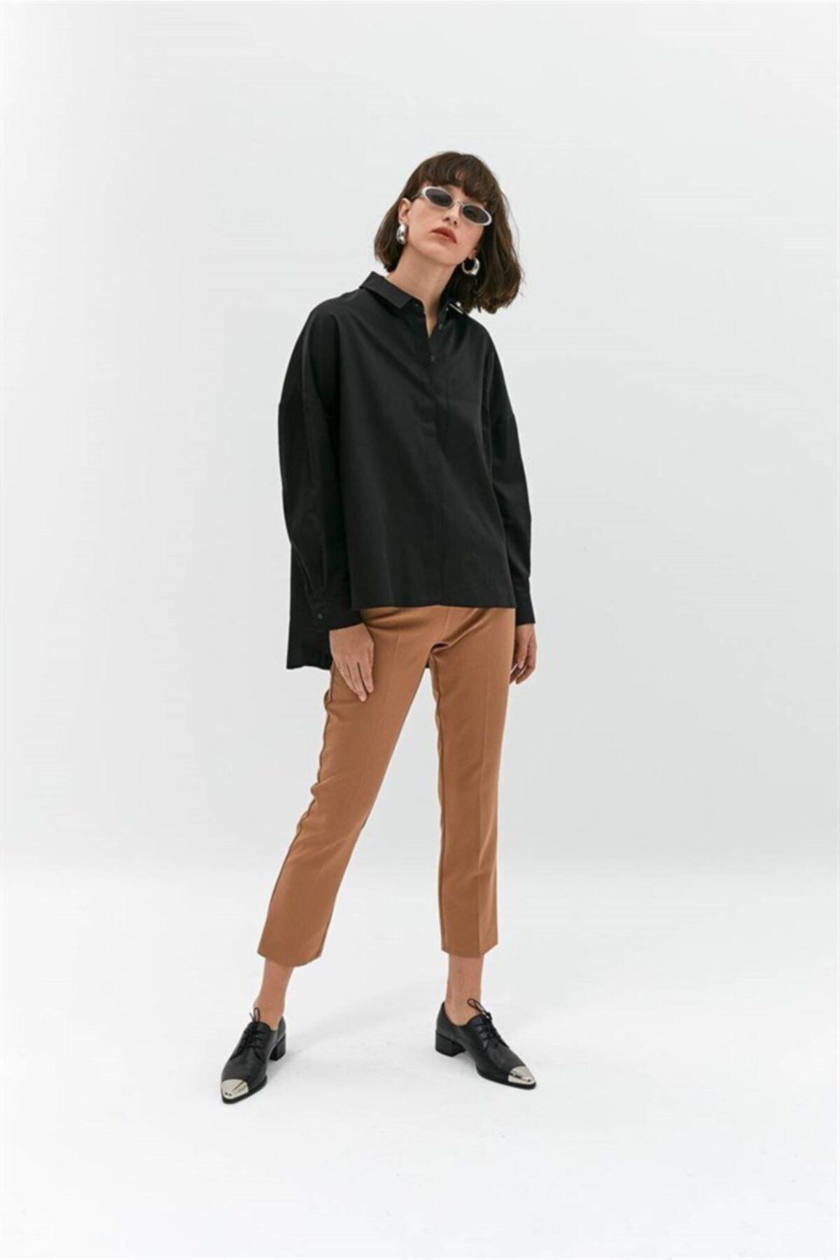rue. Siyah Oversize Poplin Gömlek 2