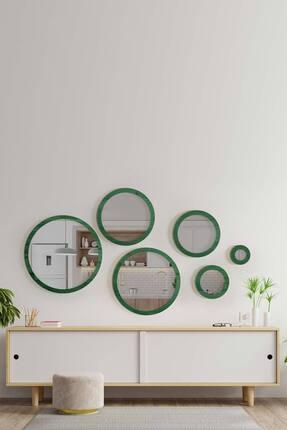 bluecape Doğal Ağaç Masif Yeşil Çerçeve 6'lı Set Antre Koridor Duvar Salon Banyo Ofis Çocuk Yatak Odası Ayna