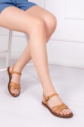 Deripabuc Hakiki Deri Taba Kadın Deri Sandalet Dp28-0830