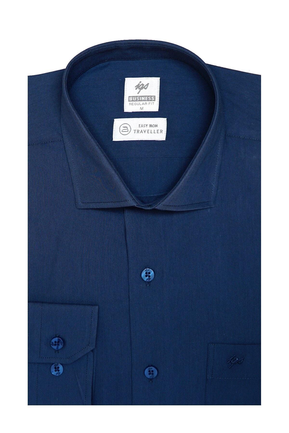 İgs Erkek Petrol Regularfıt / Rahat Kalıp 7 Cm Klasik Gömlek 1