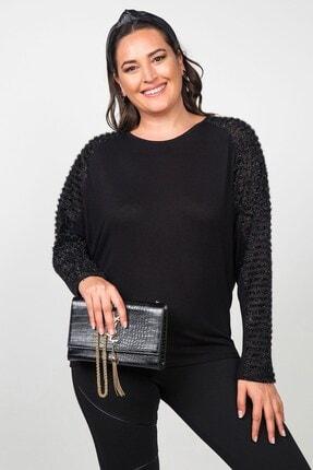 Womenice Kadın Siyah Kolları Şerit Tül Detaylı Büyük Beden Bluz