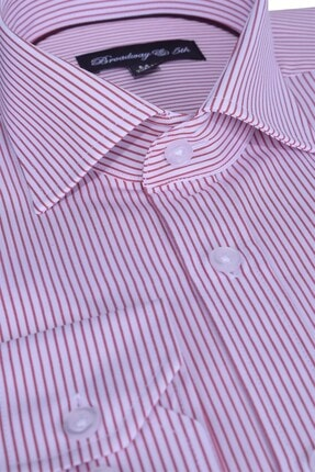 Ottomoda Broadway Uzun Kollu Bordo Çizgili Erkek Gömlek