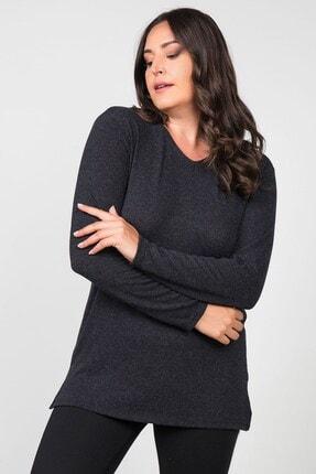Womenice Kadın Antrasit Basic Uzun Kollu Büyük Beden Bluz