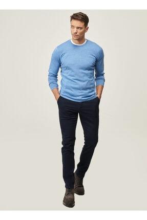 AC&Co / Altınyıldız Classics Erkek Lacivert Kanvas Slim Fit Dar Kesim Yan Cep Chino Pantolon