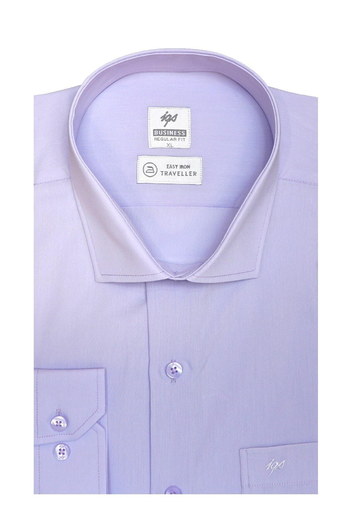 İgs Erkek Lila Regularfıt / Rahat Kalıp 7 Cm Klasik Gömlek 1