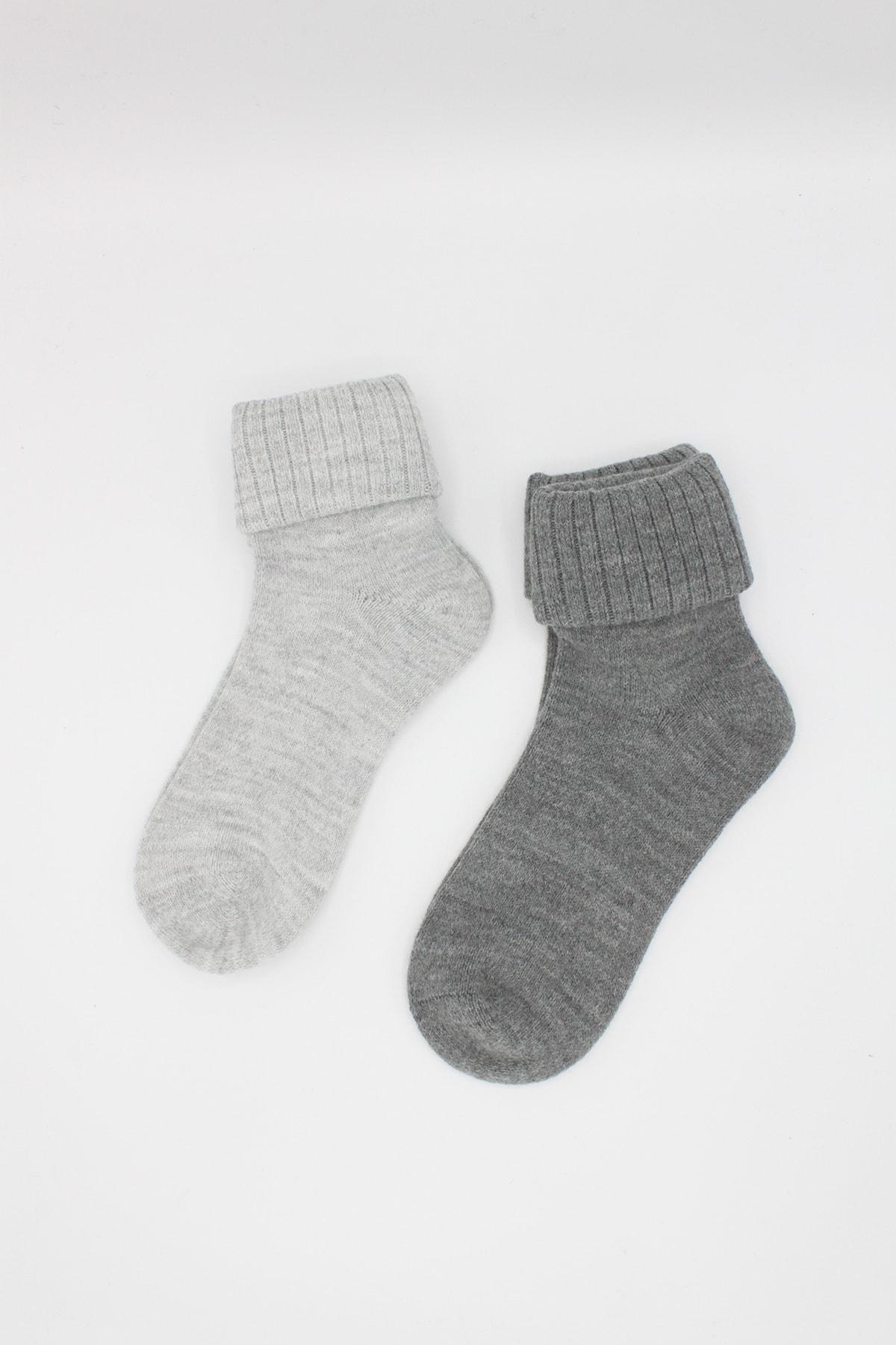 Igloo Socks Igloo 2'li Kıvrık Dikişsiz Yün Çorabı 1