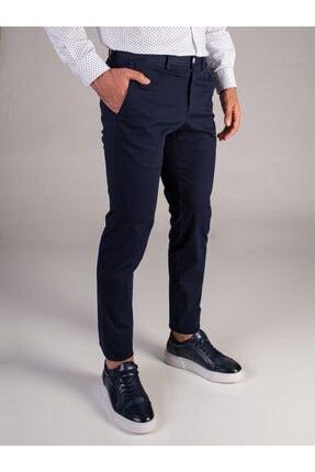 Dufy Lacivert Düz Erkek Pantolon - Slimfit