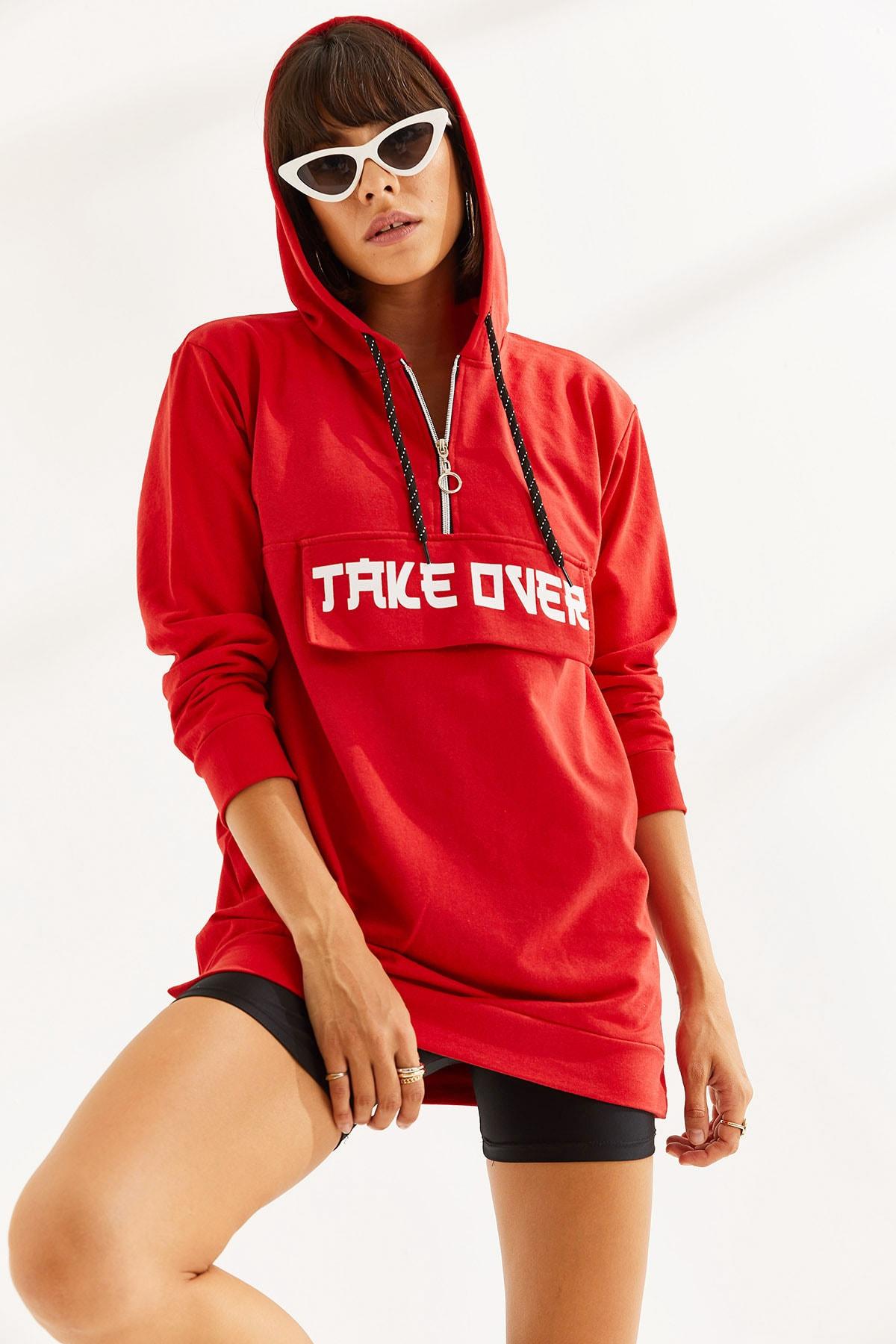 MTSTİL Kadın Önü Baskılı Uzun Kapşonlu Sweatshirt 1