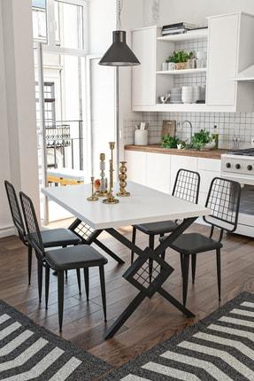 Wood House Berlingo Yemek Masası Takımı - Beyaz