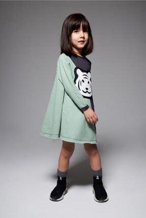 MonoKido Kız Çocuk Yeşil Tigo Asimetrik - Dress