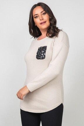 Womenice Kadın Ekru Pamuklu Cebi Pullu Büyük Beden Bluz