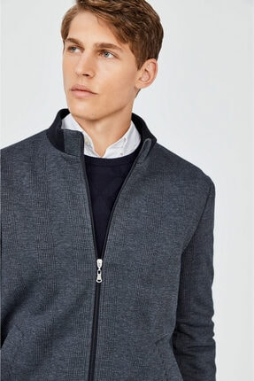 Avva Erkek Lacivert Dik Yaka Ribanalı Ekose Desenli Sweatshirt A02y1033