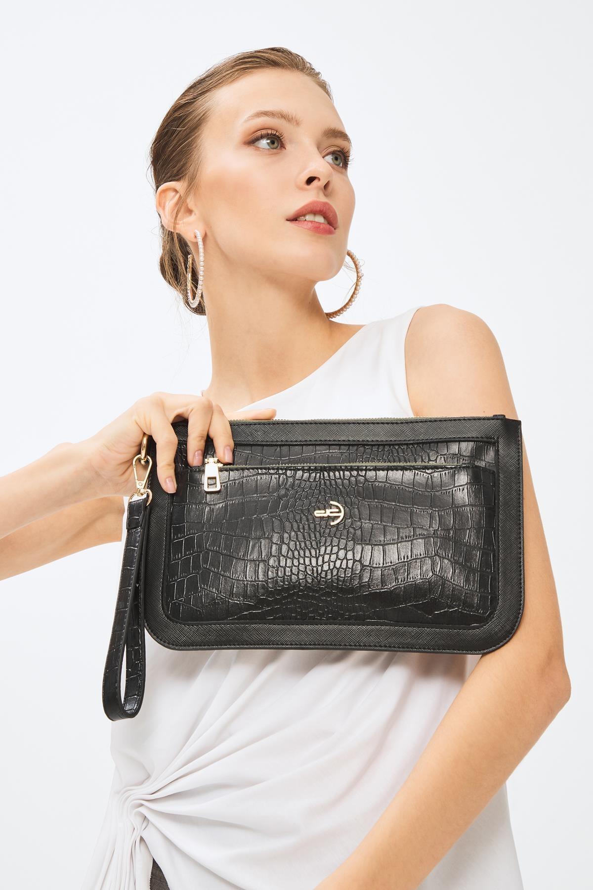 Deri Company Kadın Basic Clutch Çanta Kroko Timsah Desen Siyah Yeşil Fermuar 214003 2