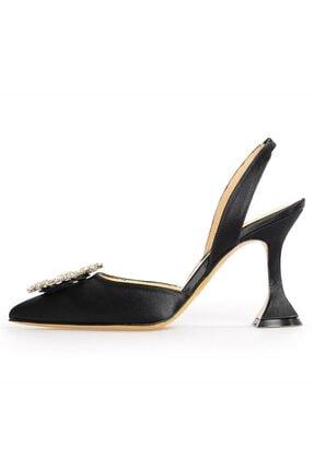 Flower Siyah Kadın Saten Taşlı Abiye Ayakkabı