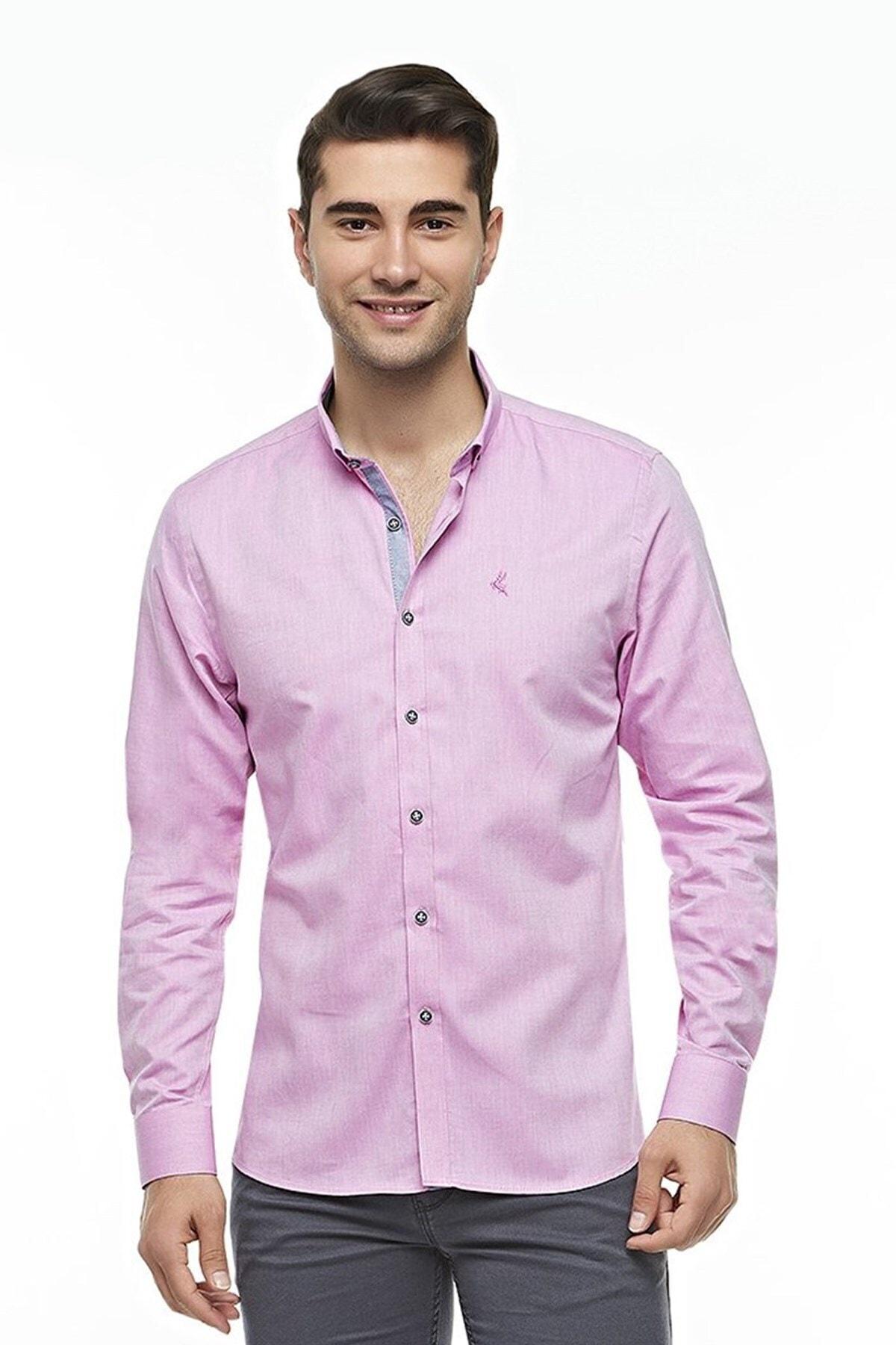 Ottomoda Uzun Kollu Casual Klasik Erkek Gömlek Pembe 1
