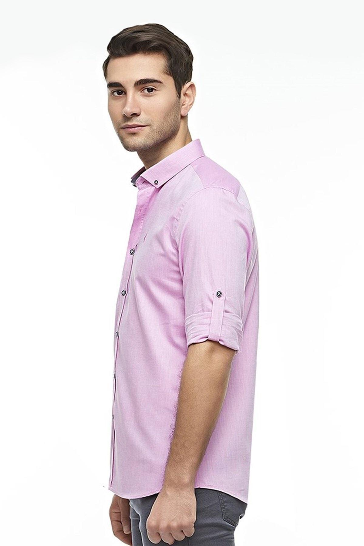 Ottomoda Uzun Kollu Casual Klasik Erkek Gömlek Pembe 2