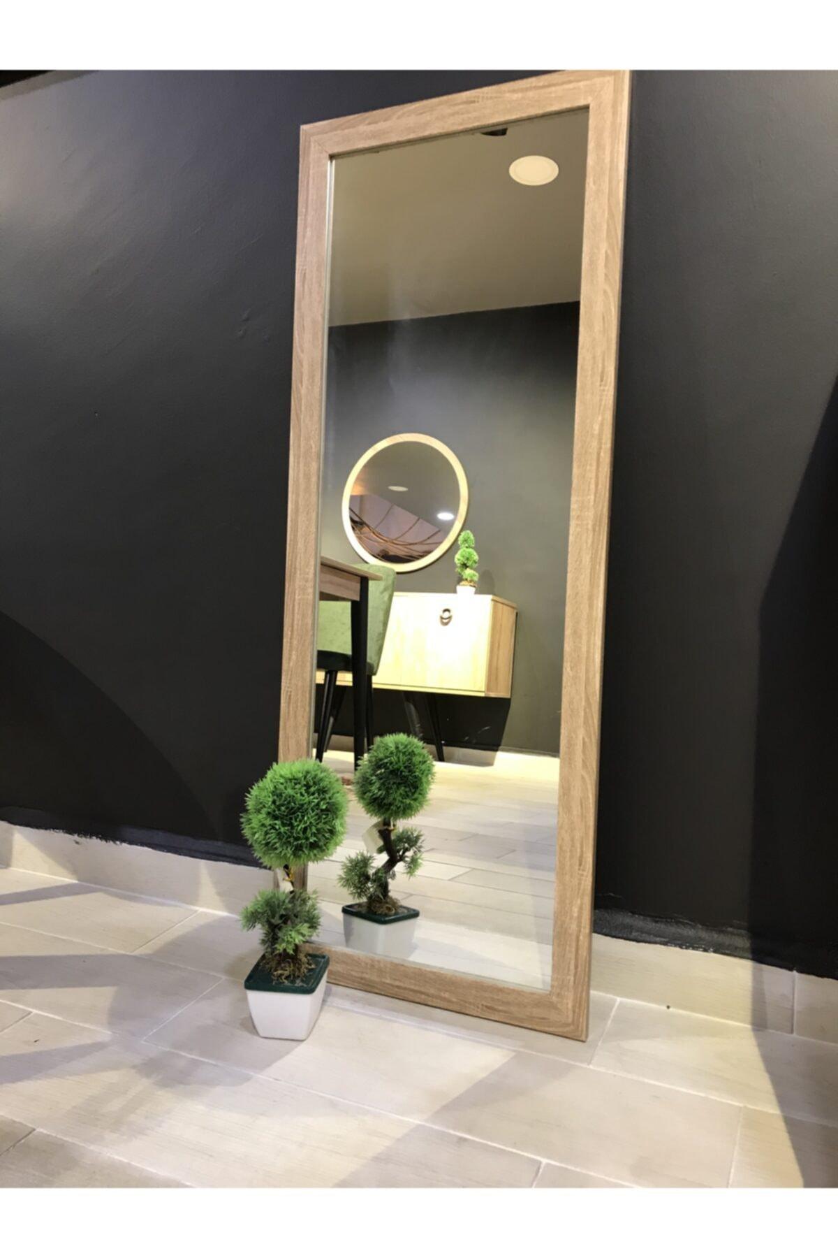 MONEayna 40*104 Natural Ahşap Görünümlü Salon Ofis Boy Aynası 1