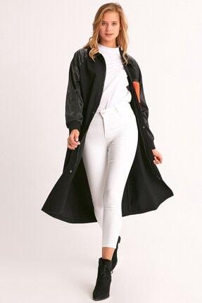 Fulla Moda Kadın Siyah Kuşaklı Cepli Trençkot