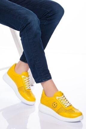 derithy Kadın Sarı Hakiki Deri Casual Ayakkabı