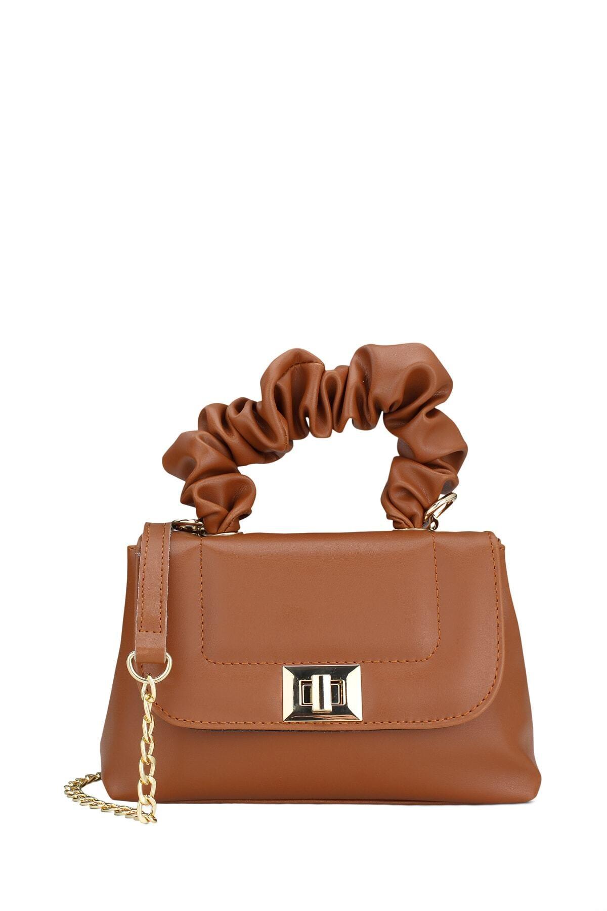 Housebags Kadın Büzgü Saplı Üç Bölmeli Taba Omuz Çantası 194 1