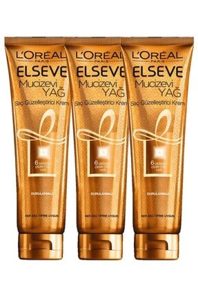L'Oreal Paris Elseve Normal Saçlar Için Durulanmayan Saç Güzelleştirici Krem 150 ml 3 Lü Set