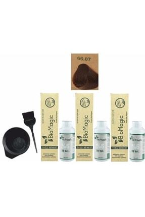 BIOMAGIC Organik Saç Boyası 66.07 Çikolata Kahve 60ml X3 Adet+oksidan 90ml+boyama Seti