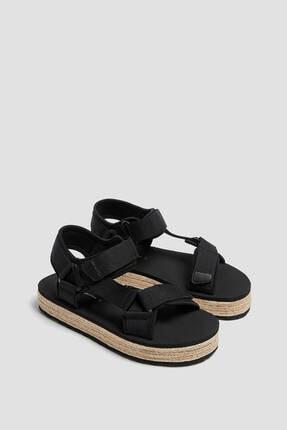 Pull & Bear Kadın  Jüt Detaylı Bantlı Sandalet