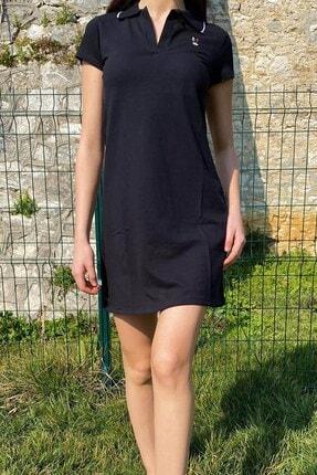 Mossta Tavşan Nakışlı Yazlık Elbise Siyah