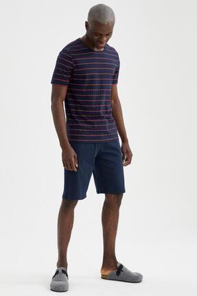 DeFacto Erkek Lacivert Regular Fit Çizgili Pijama Takımı