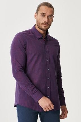 AC&Co / Altınyıldız Classics Erkek Lacivert-Kırmızı Tailored Slim Fit Dar Kesim Düğmeli Yaka %100 Koton Gömlek